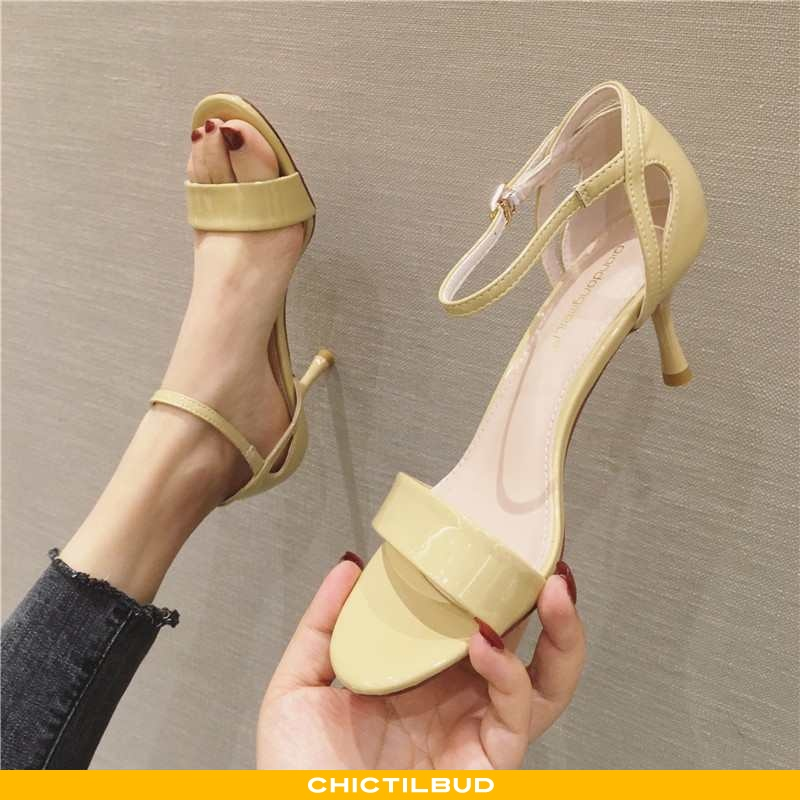 Sandaler Dame Høje Hæle Læder Mode Ny