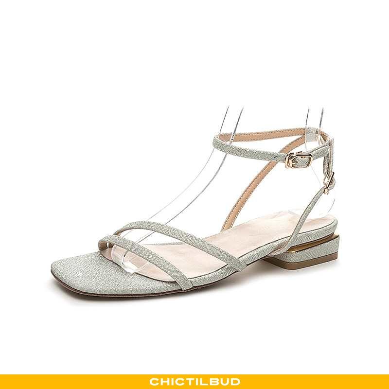 Sandaler Dame Høje Hæle Sølv Elegante