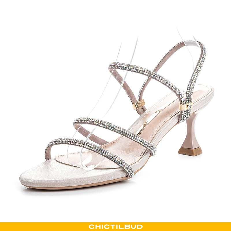 Sandaler Dame Høje Hæle Trend Strass