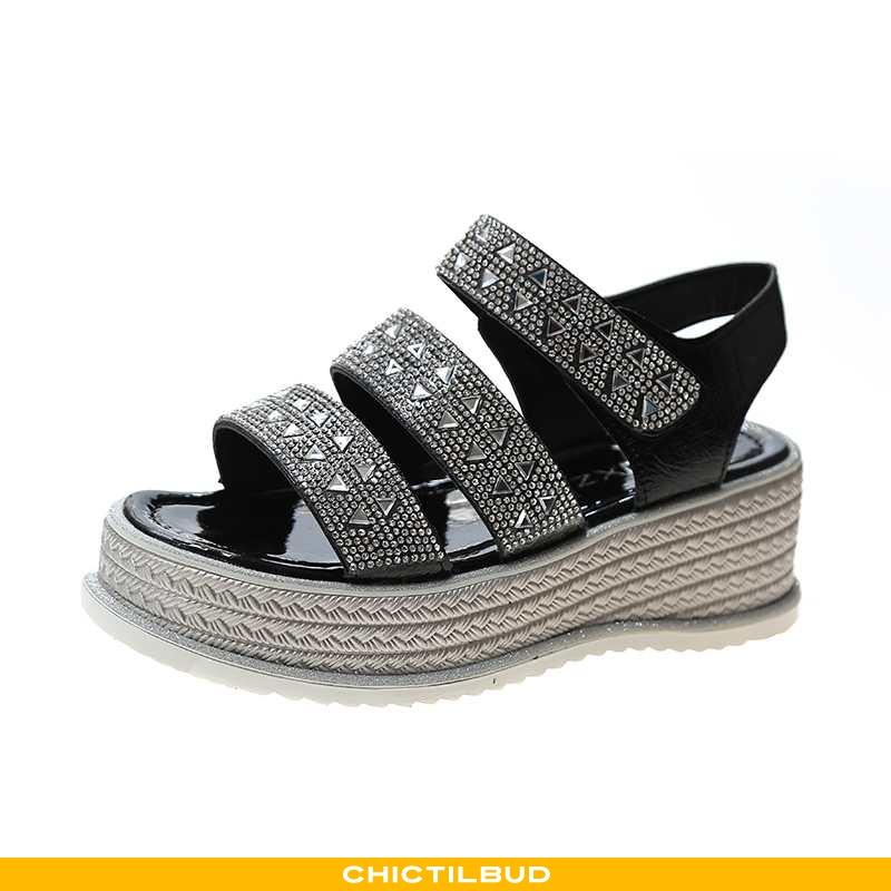 Sandaler Dame Med Kilehæl 2020 Sort