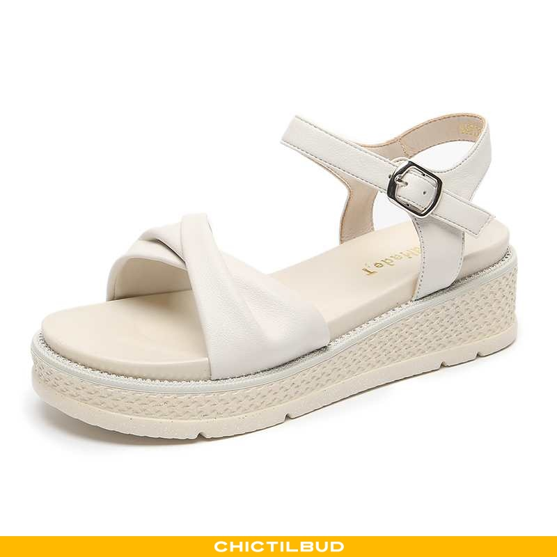 Sandaler Dame Med Kilehæl Platform Hvid