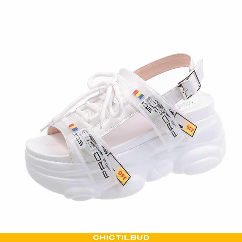 Sandaler Dame Tykke Platform Hvid