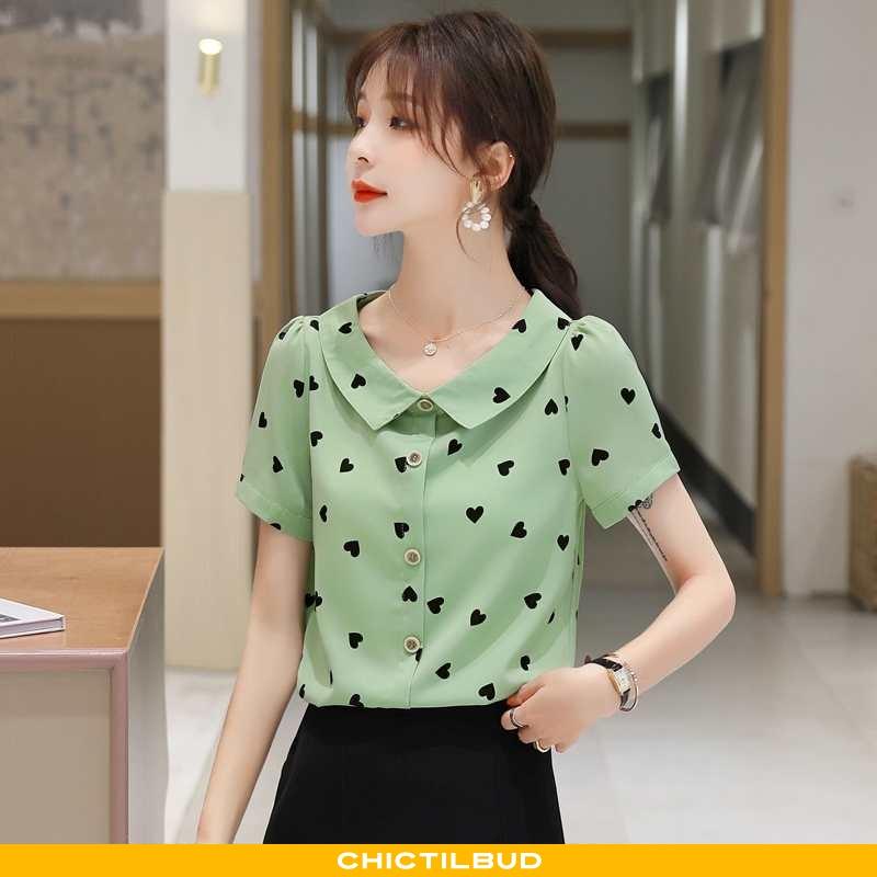Skjorte Dame Bluser Skjorter Chiffon Kortærmet Grøn