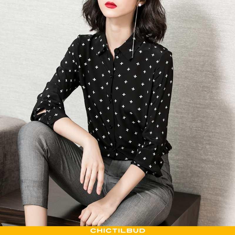 Skjorte Dame Bluser Skjorter Tryk Sort