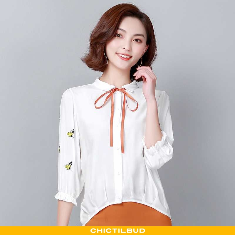 Skjorte Dame Chiffon Forårs Hvid
