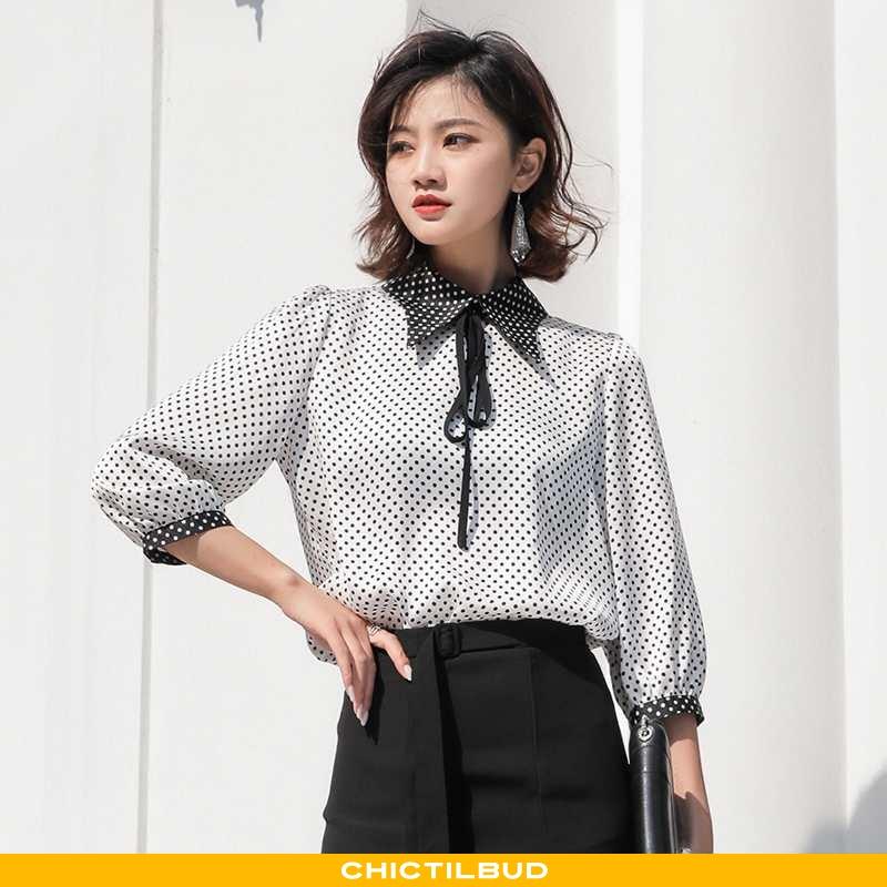 Skjorte Dame Chiffon Sommer Simple