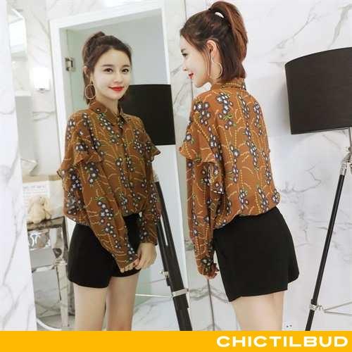Skjorte Dame Chiffon Trend Elegante