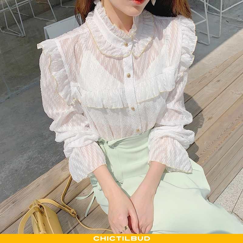 Skjorte Dame Chiffon Trend Personlighed