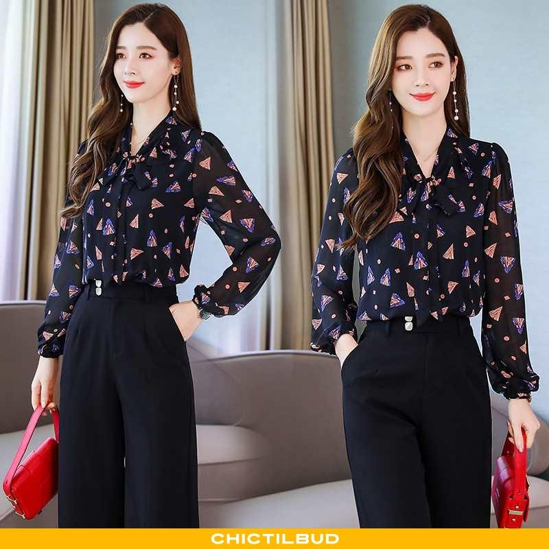 Skjorte Dame Elegante Mørkeblå