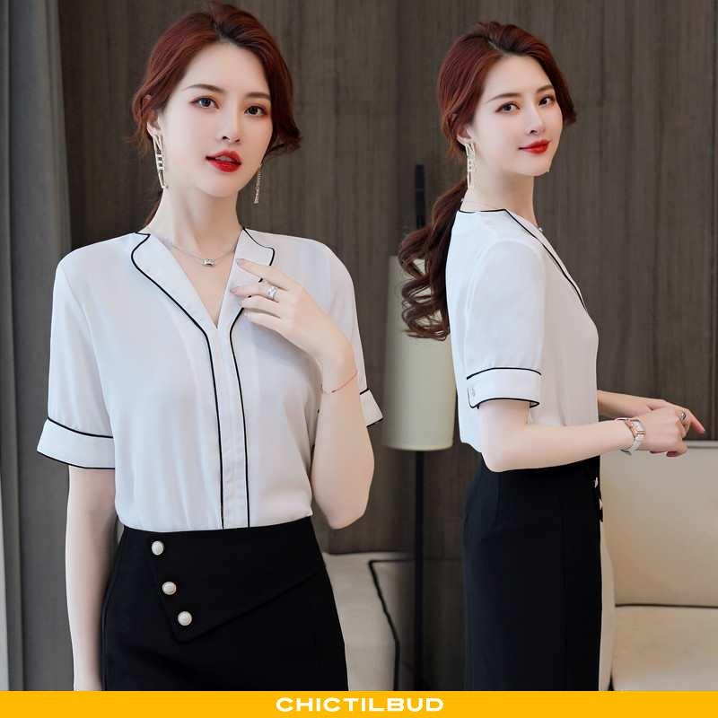 Skjorte Dame Kortærmet Skjorte Chiffon Skinny 2020