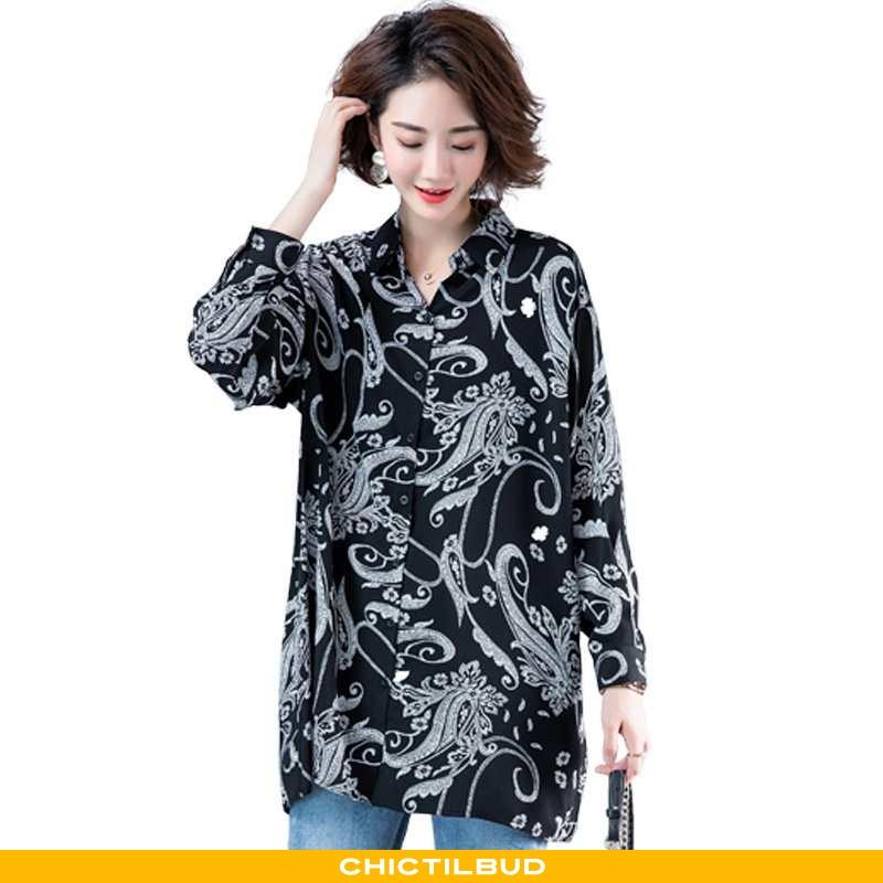 Skjorter Dame Bluser Skjorter Tryk Personlighed