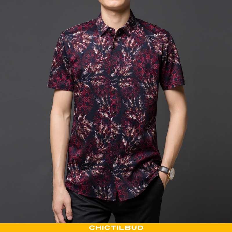 Skjorter Herre Bluser Skjorter Bomuld Sommer Blomster
