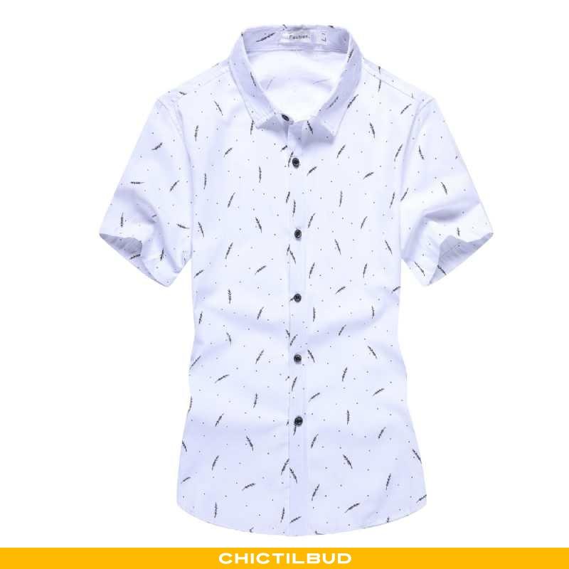 Skjorter Herre Bluser Skjorter Tryk Ren Hvid