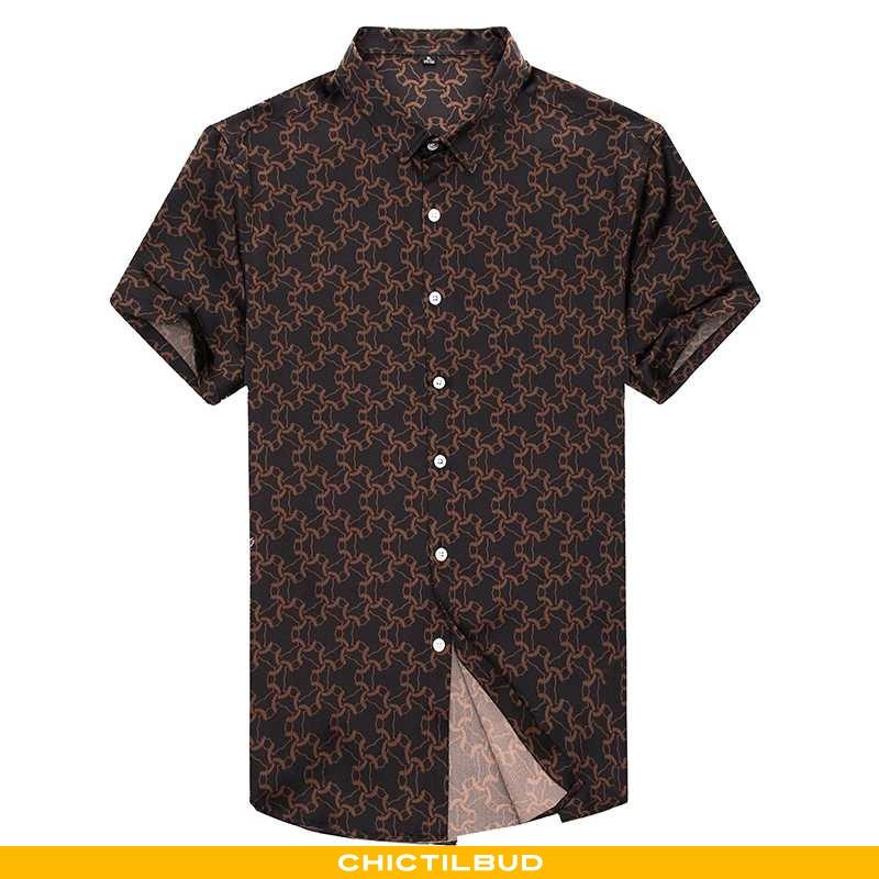 Skjorter Herre Kortærmet Skjorte Silke Casual 2020