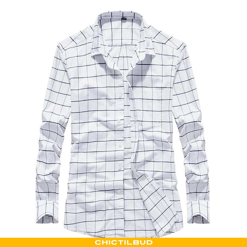 Skjorter Herre Skjorte Tynd Ren Hvid