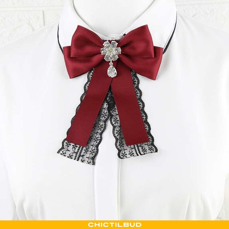 Sløjfe Dame Bluser Skjorter Bindebånd Britisk