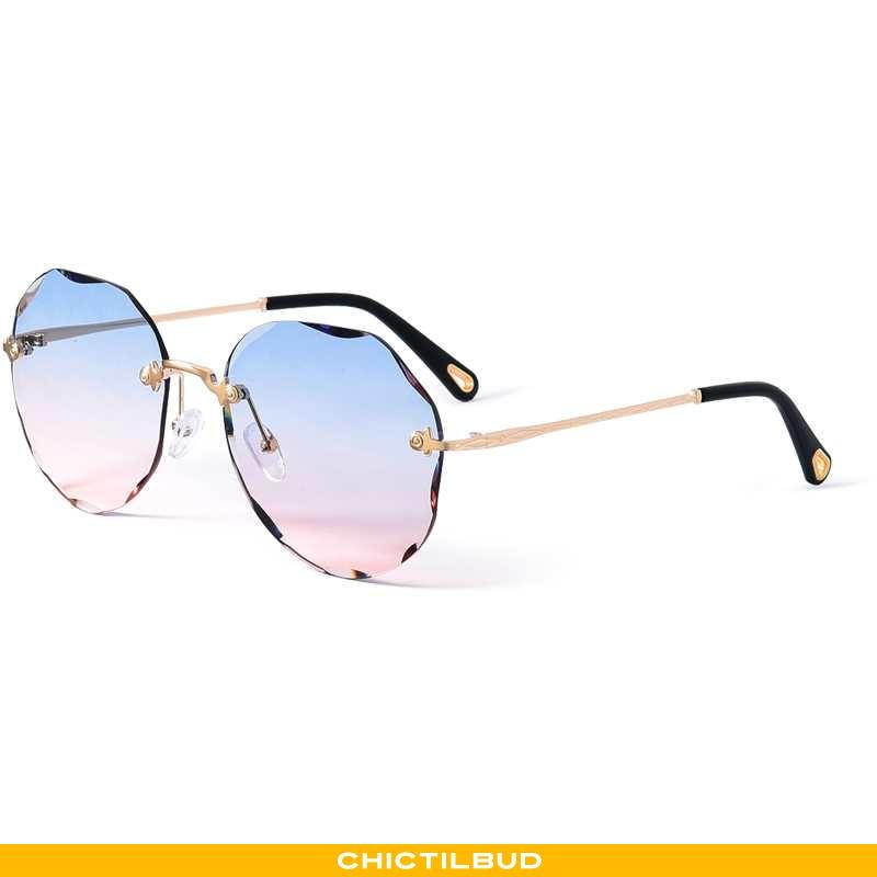Solbriller Dame Mode Runde Ansigt Blå