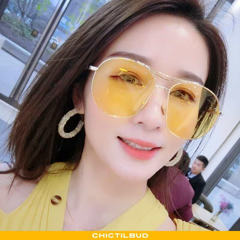 Solbriller Dame Trend Anti-uv Gul