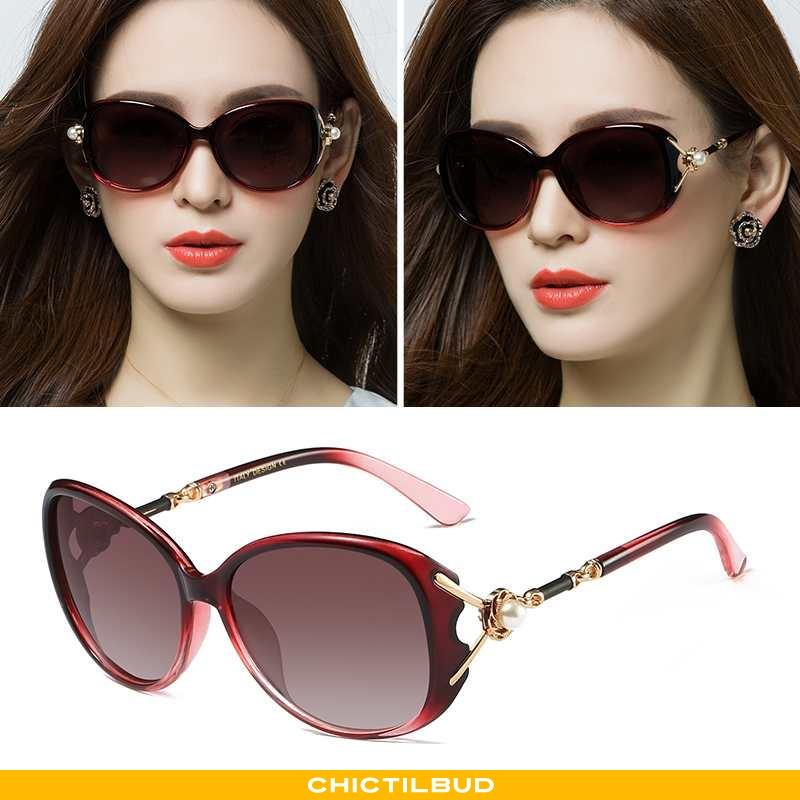 Solbriller Dame Trend Runde Ansigt Rød