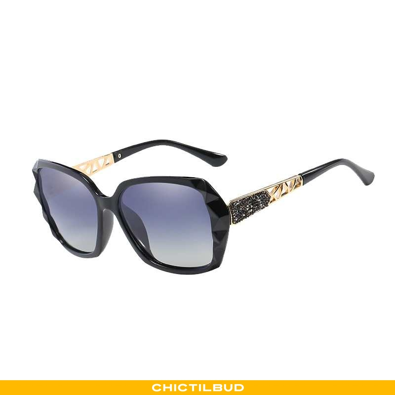 Solbriller Dame Trend Runde Ansigt Sort