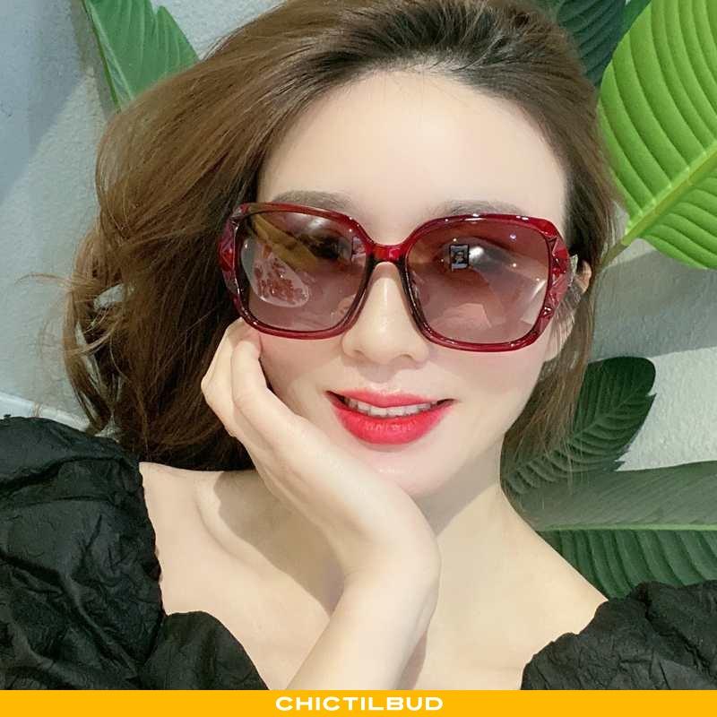 Solbriller Dame Trend Strass Rød