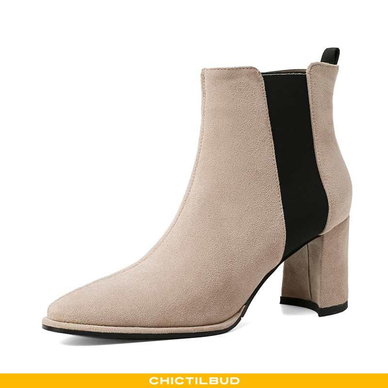 Støvler Dame Korte Støvler Stretch Ruskind