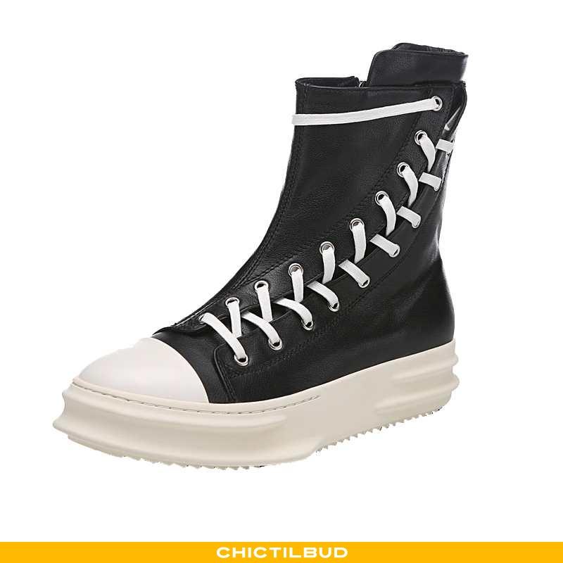Støvler Herre Korte Støvler Læder Tykke Sort