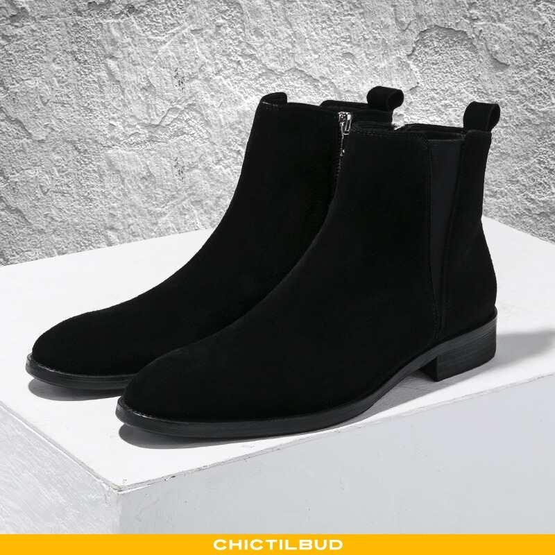 Støvler Herre Lædersko Læder Casual Sort