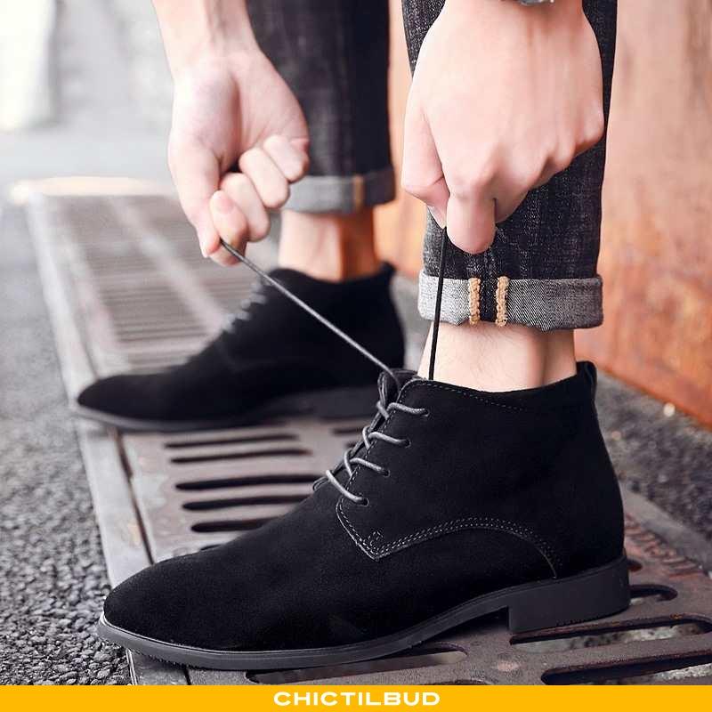 Støvler Herre Lædersko Læder Trend Sort