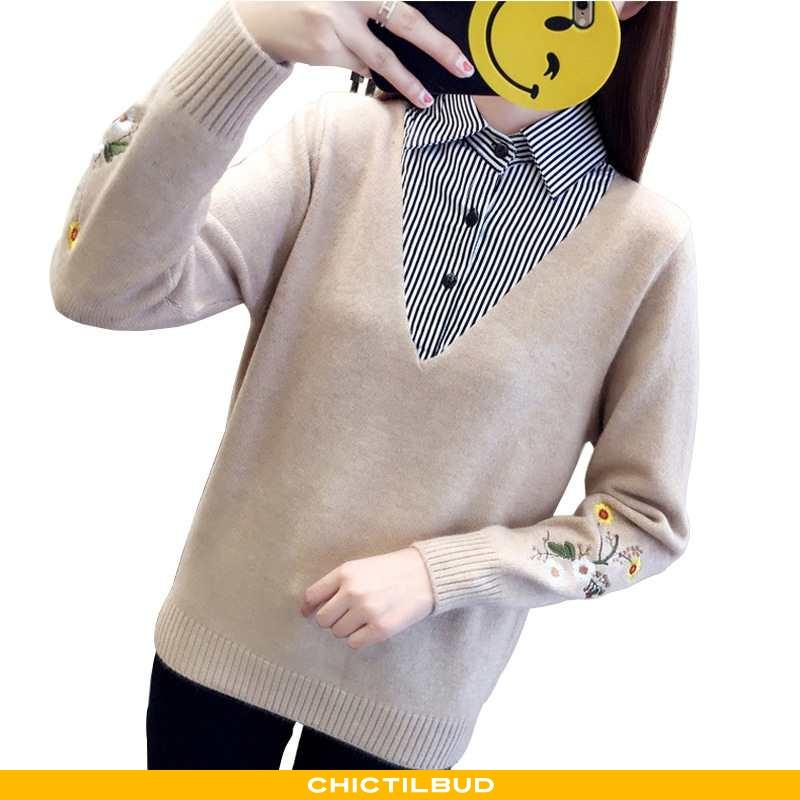 Sweatere Dame Sweater Broderi Revers