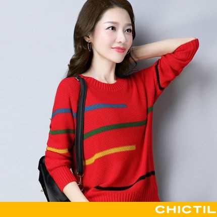 Sweatere Dame Sweater Langærmet Rød