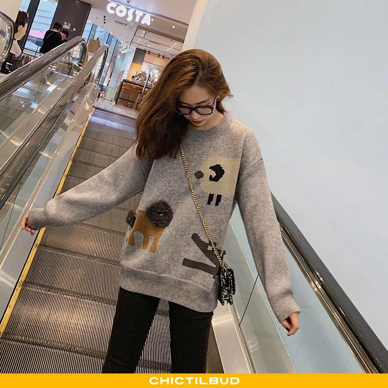 Sweatere Dame Sweater Strikket Casual Overtøj