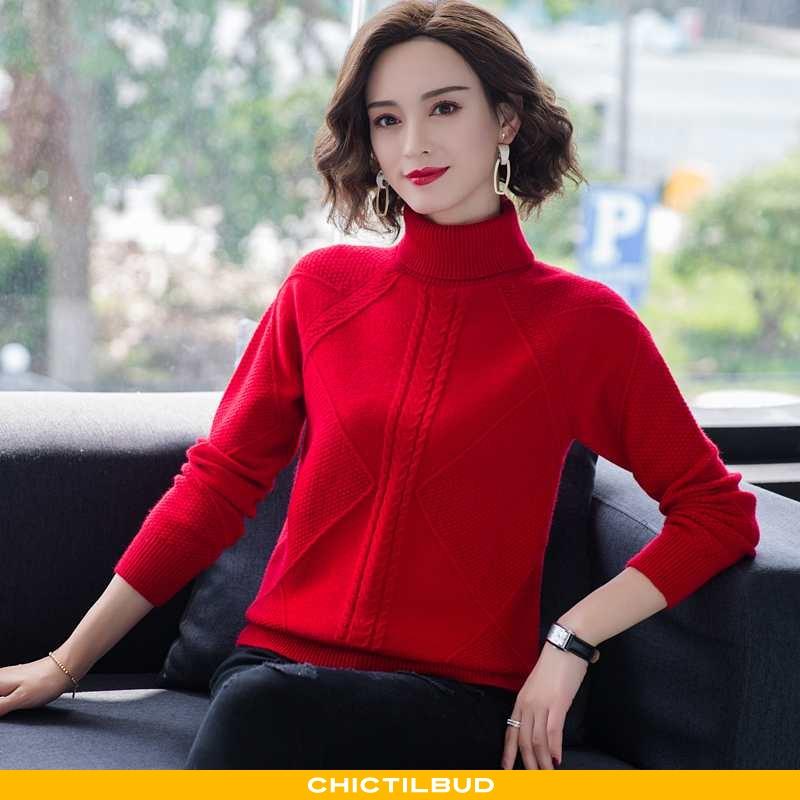 Sweatere Dame Sweater Strikket Vinter Rød
