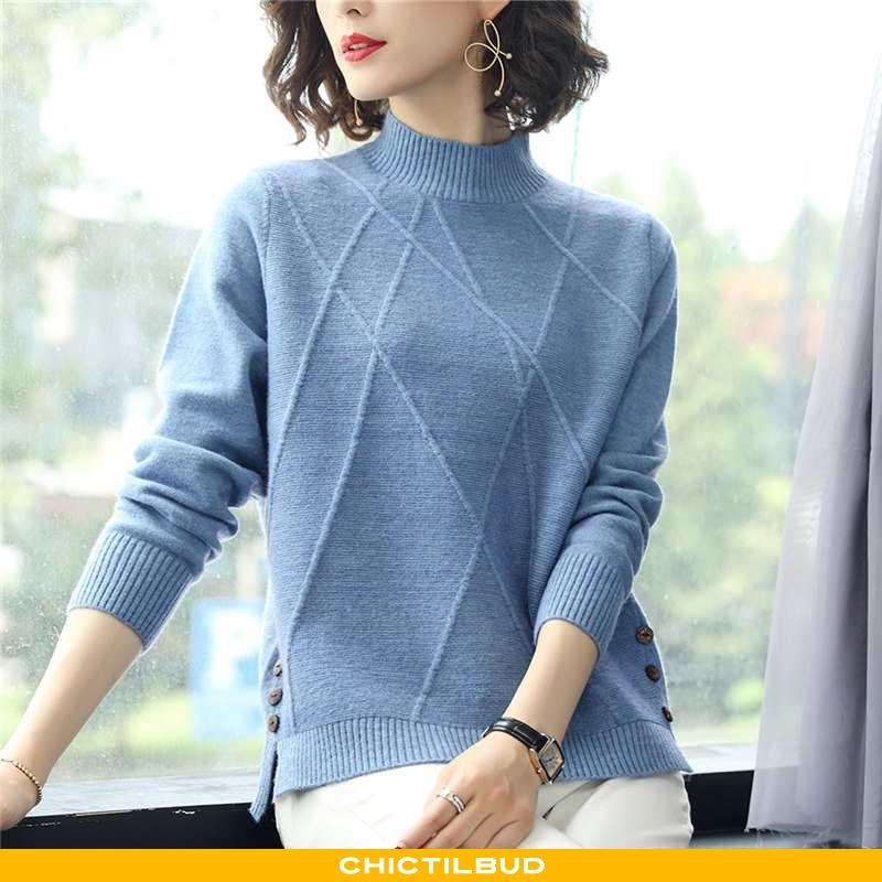 Sweatere Dame Undertrøje Strikket Vinter Mørkeblå