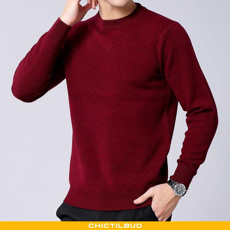 Sweatere Herre Cardigan Uld Tykke Rød