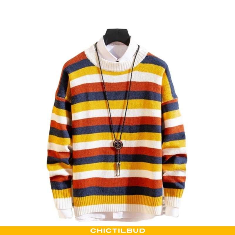 Sweatere Herre Sweater Stribet Rund Hals