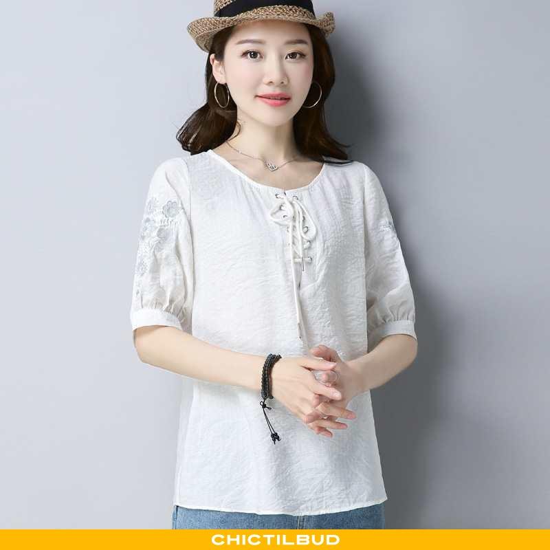 T-shirts Dame Bindebånd Ren Hvid