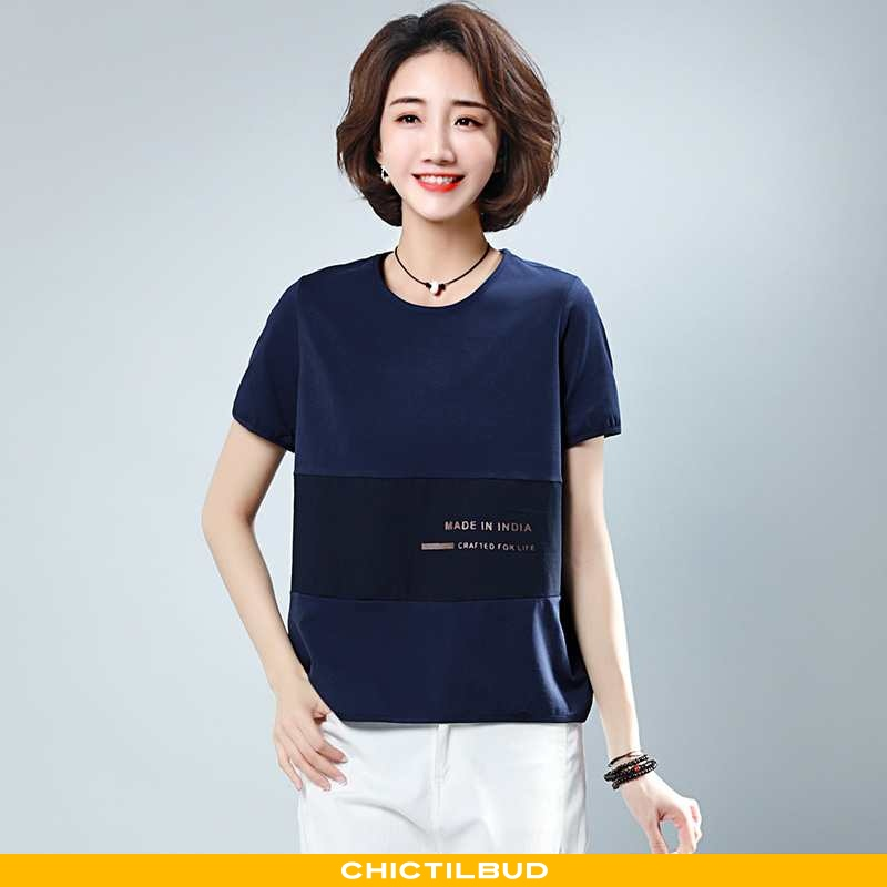 T-shirts Dame Løse 2021 Mørkeblå