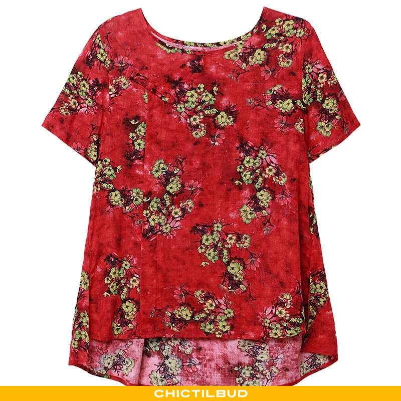 T-shirts Dame Løse Elegante Rød