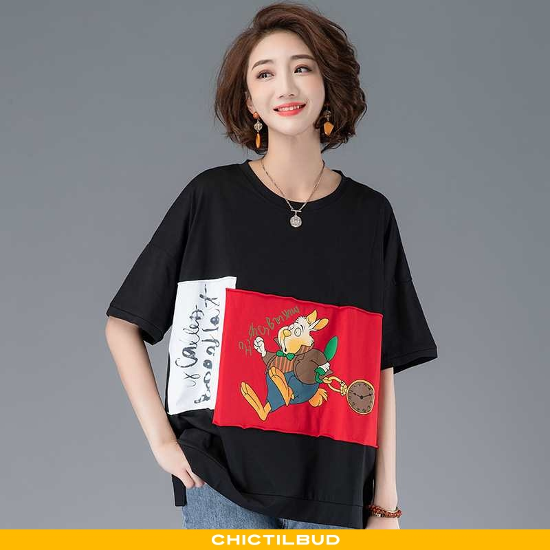 T-shirts Dame Løse Sort