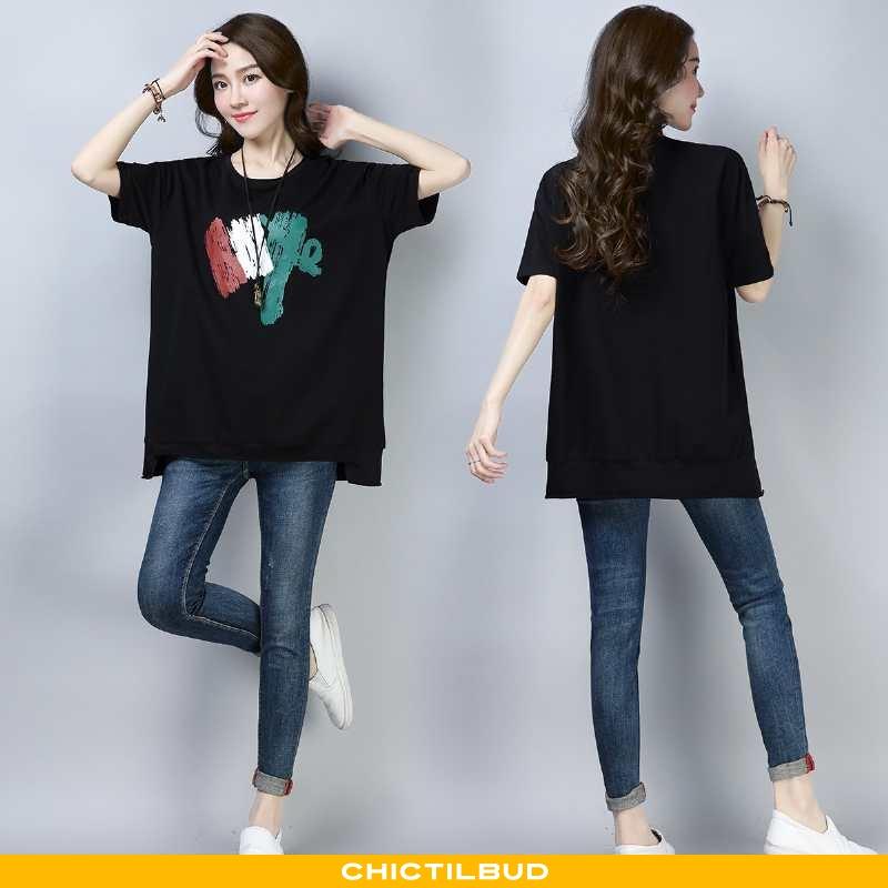 T-shirts Dame Lang Midten Sort
