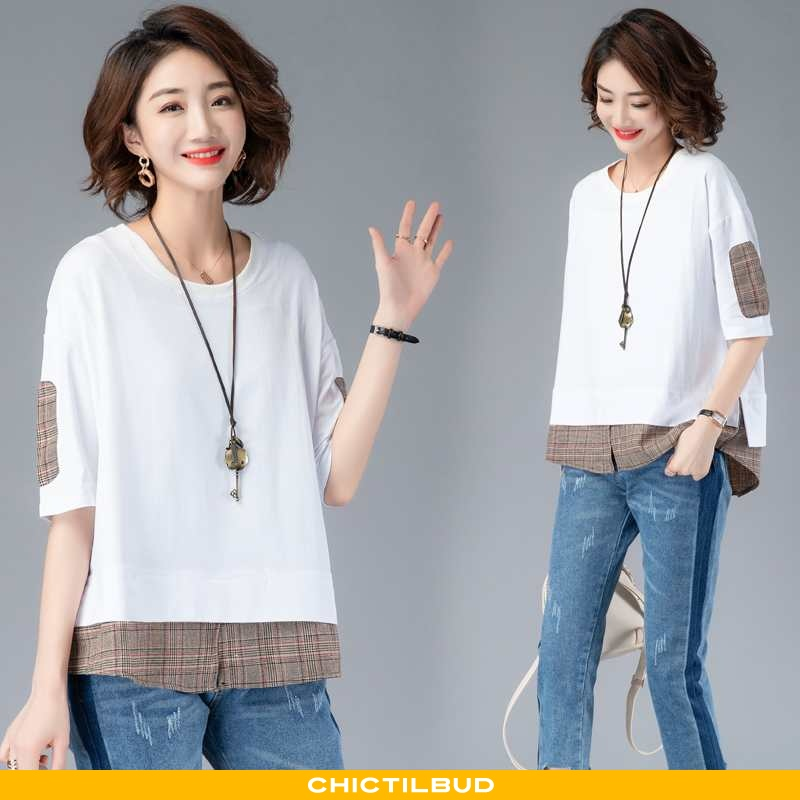 T-shirts Dame Mode Splejsning Hvid