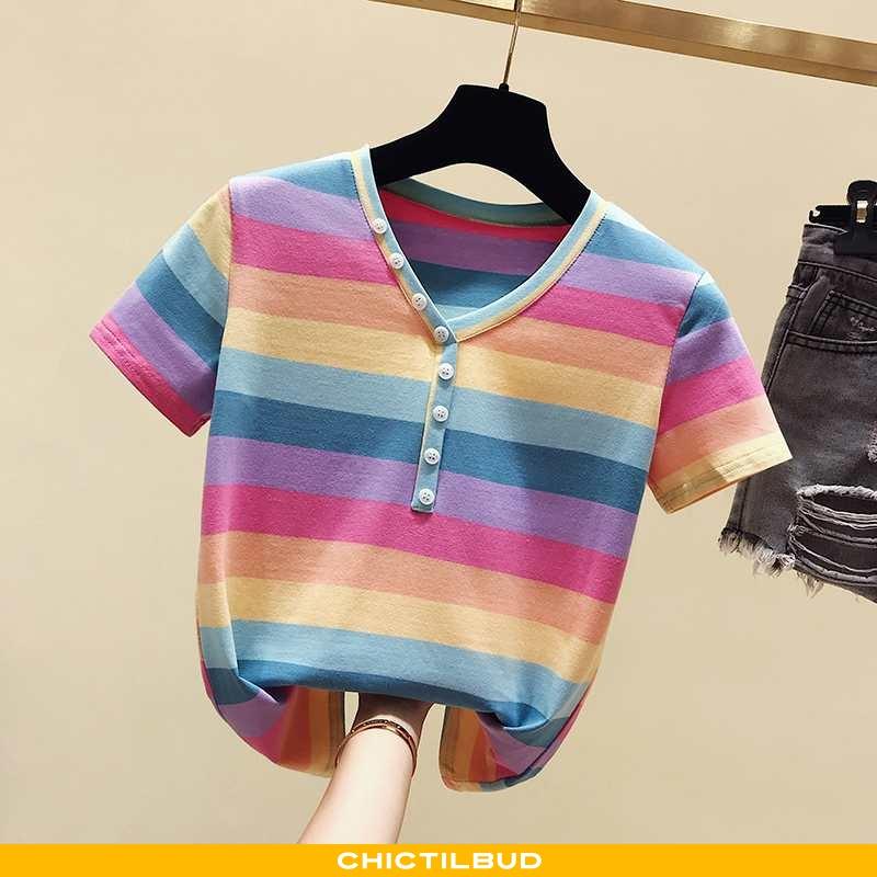 T-shirts Dame Trend Regnbue Lyserød