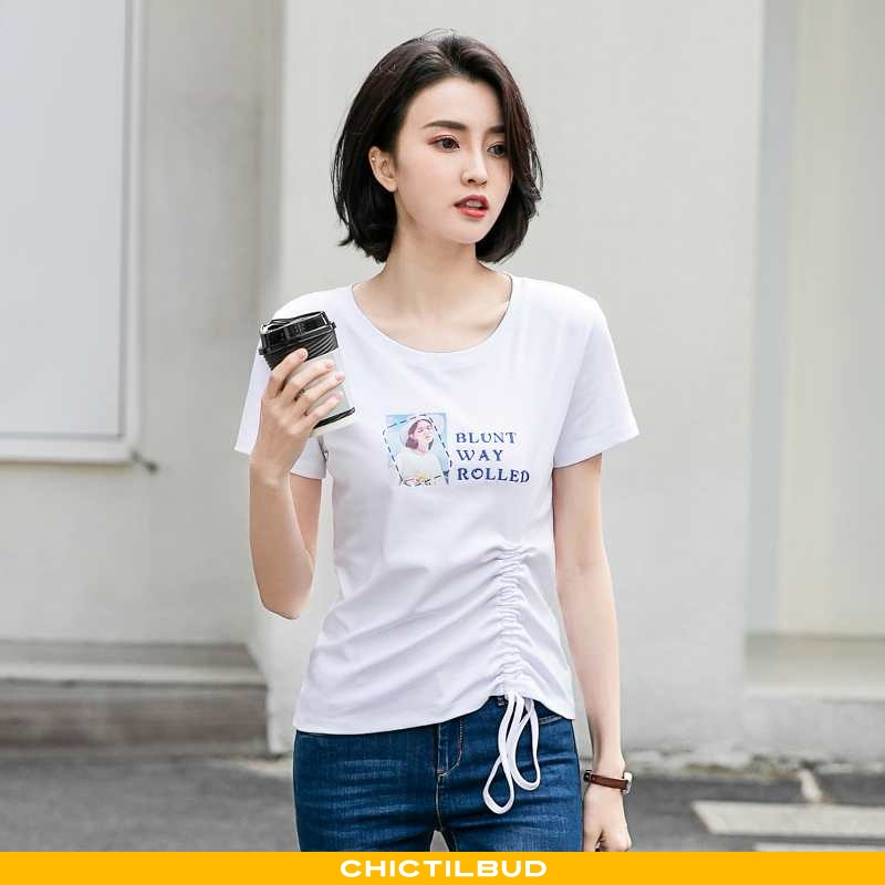 T-shirts Dame Tryk Hvid