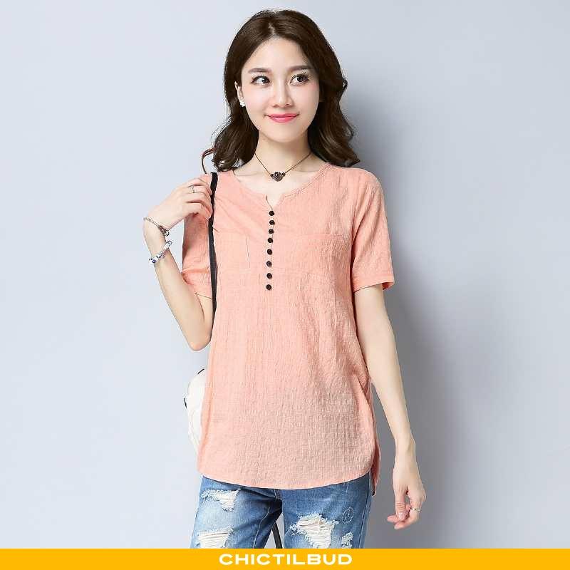 T-shirts Dame Ungdom Trend Rund Hals