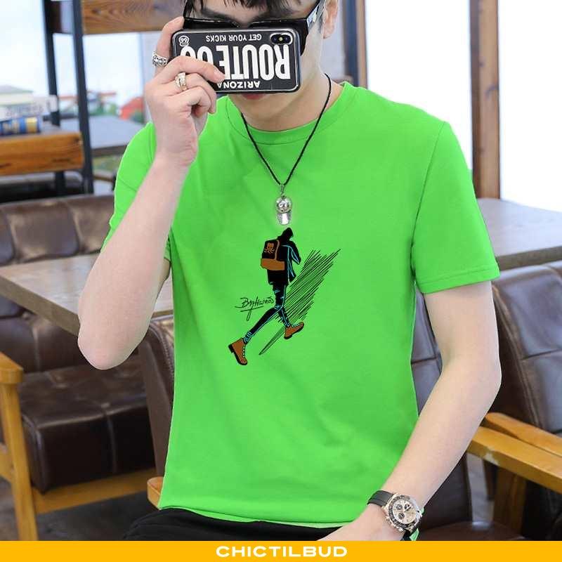 T-shirts Herre Bomuld Kortærmet Grøn