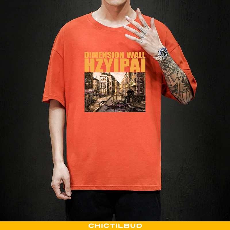 T-shirts Herre Bomuld Kortærmet Orange