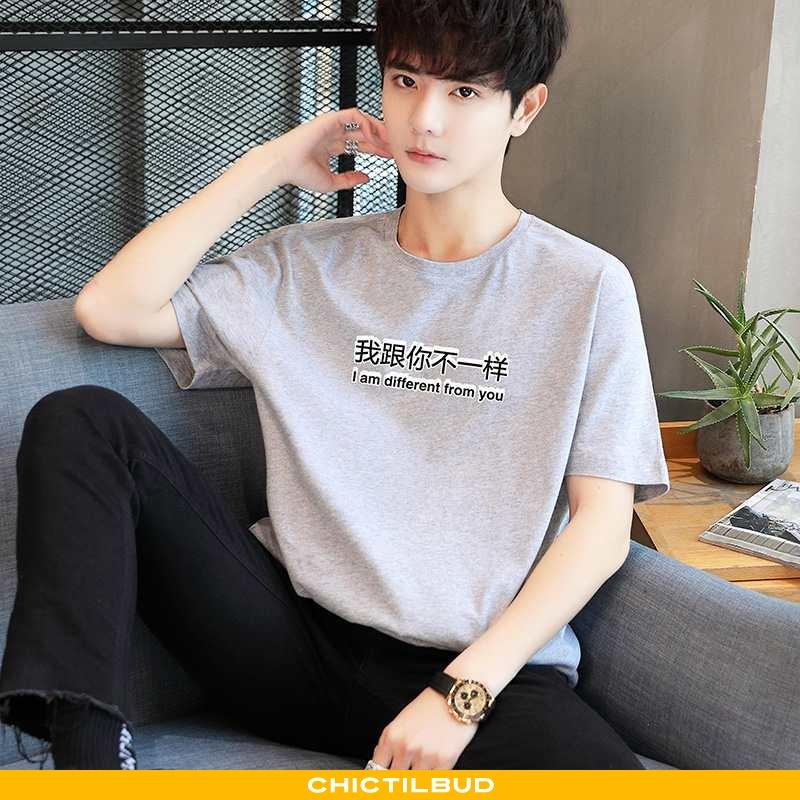 T-shirts Herre Bomuld Løse Flerfarvet