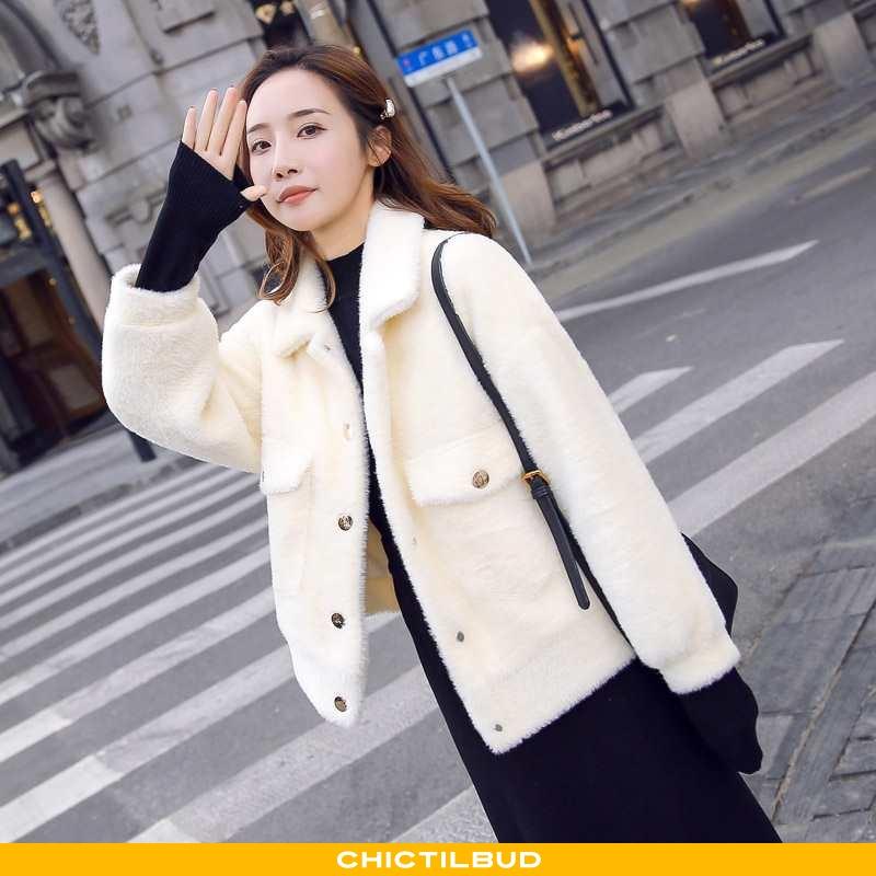Uldfrakke Dame Frakke Korte Hvid