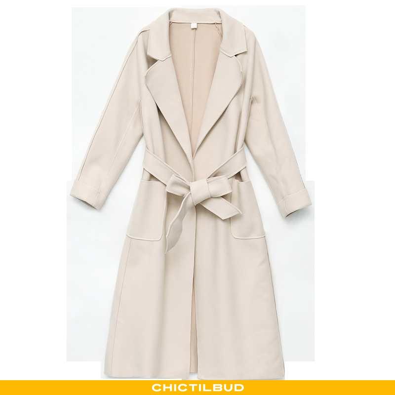 Uldfrakke Dame Frakke Lang Elegante